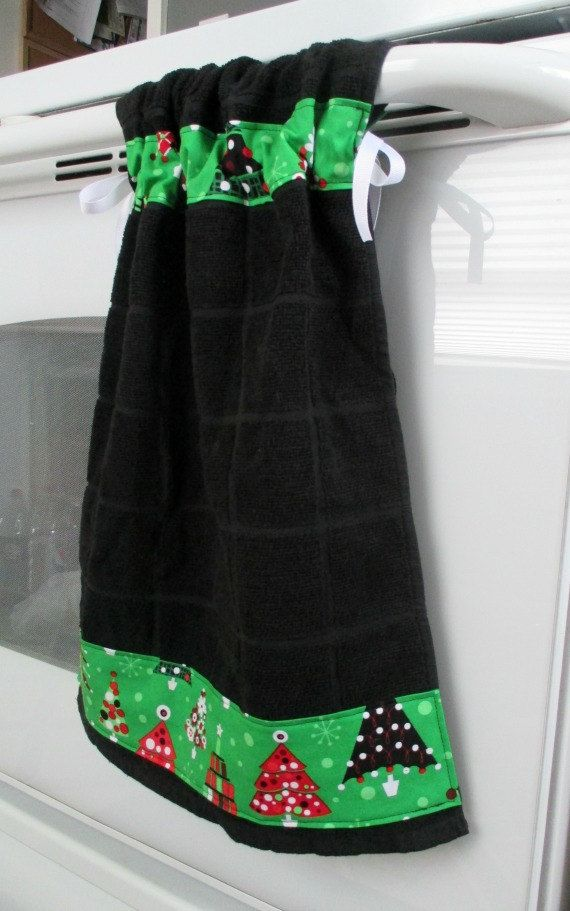 Tie Top Towelsblack Kitchen Towel Accented By Allwrappedupandmore