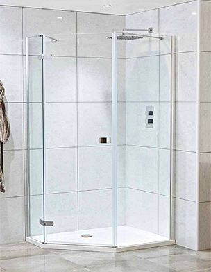 Mira Leap Pentagonal Shower Enclosure With Either Pivot Or Bi Folding Door In 2020 Shower Enclosure Small Bathroom With Shower Bifold Shower Door