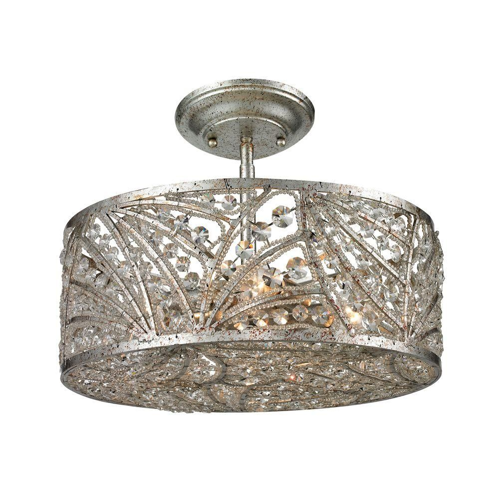 Renaissance 4-Light Sunset Silver Semi Flush Mount-TN-11594 - The Home Depot