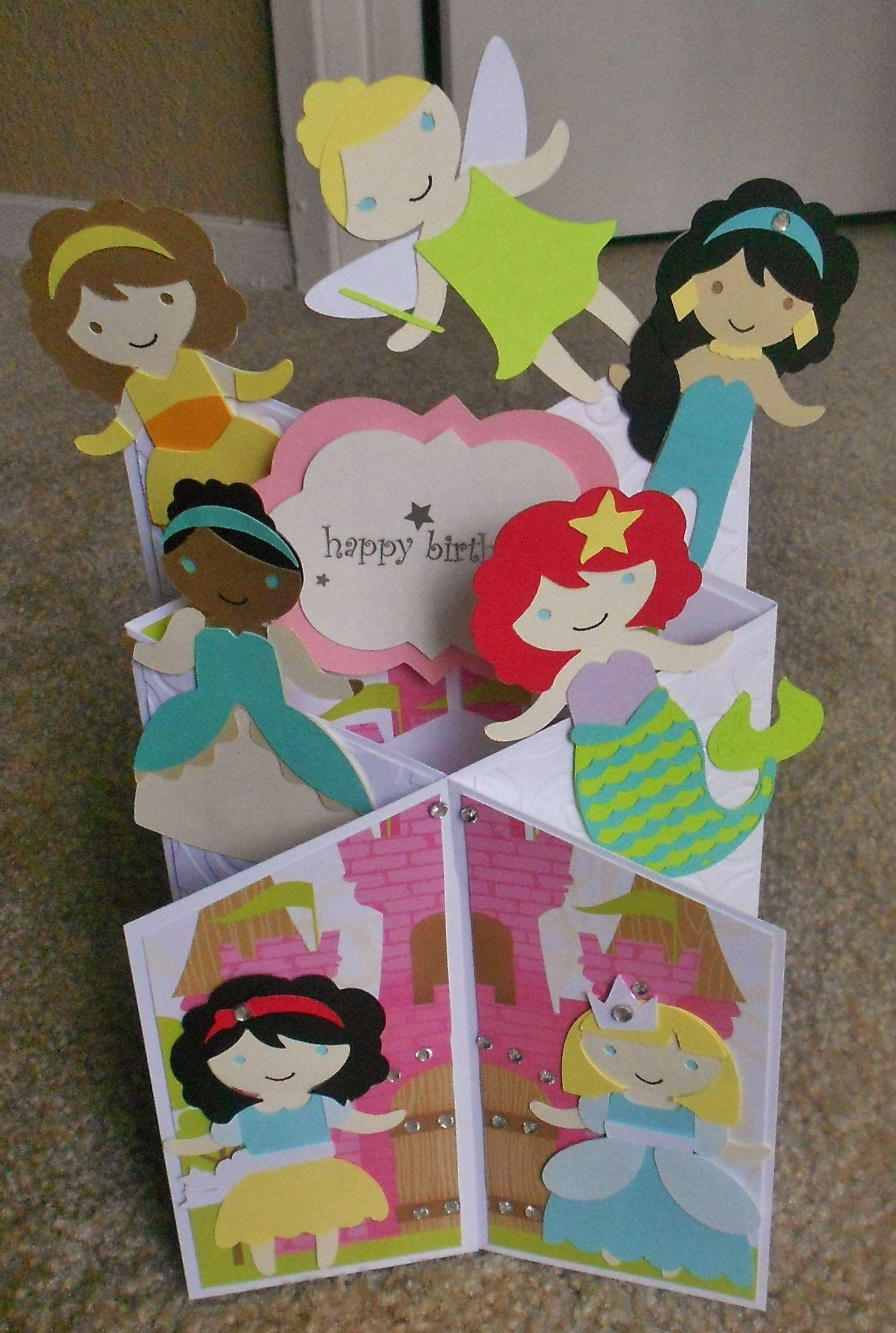 Disney Princesses Cascade Card Disney Cards Kids Birthday Cards Kids Cards