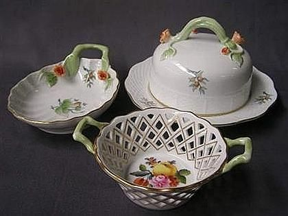 Herend butter dish, shell dish and small basket