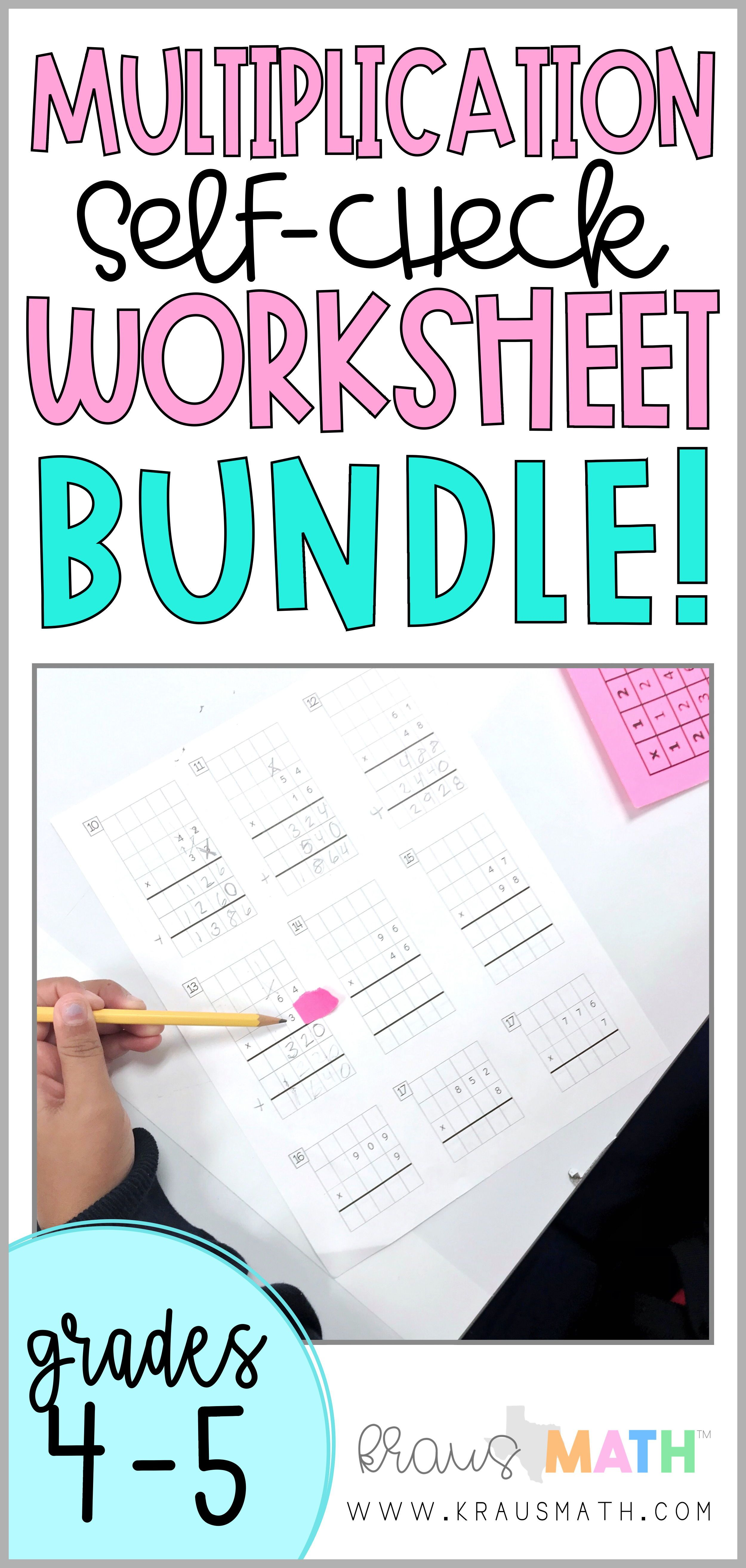 Multiplication 2x2 Amp 3x1 Self Check Worksheet Bundle