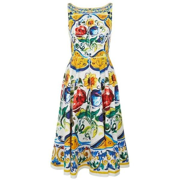 Dolce & Gabbana Floral Print Cotton Dress (140.615 RUB) ❤ liked on Polyvore featuring dresses, cotton day dresses, flared skirts, floral print dress, cotton skater skirt and cotton floral dress