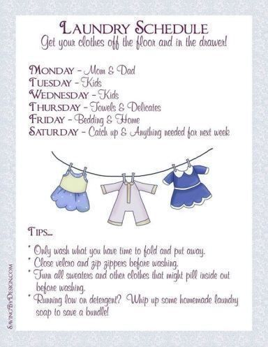 Get your clothes off the floor and back in the drawer by creating a laundry schedule.  Get your FREE printable! | Saving by Design
