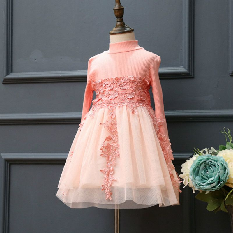 Click to Buy << Girls Dresses Long Sleeves Casual Pink Lace