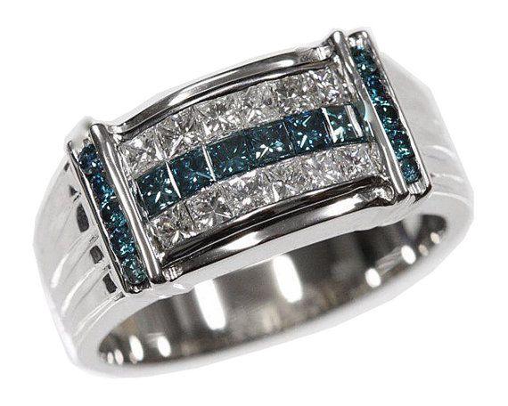 9c15027e27853 1.5 cttw 18k White Gold Princess Mens Blue Diamond Wedding Band ...