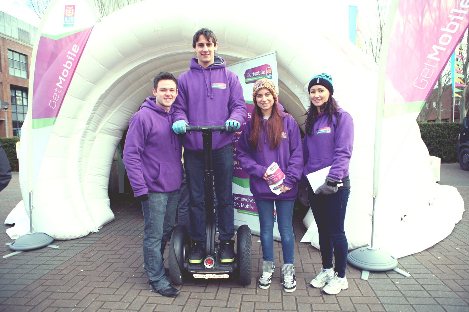 The AIB Get Mobile team outside the AIB dome which was on campus all week giving students the chance to win some great prizes and take part in fun games.