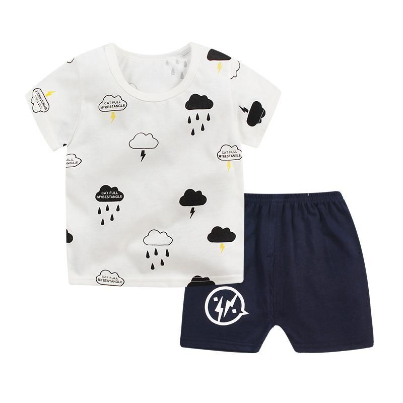 48415df2003a Baby Boys Clothes 2018 Summer Cotton Casual Short Sleeve T-shirt+Shorts  2Pcs Outfit Boys Tops Toddler Kids Clothing Sets JTX03