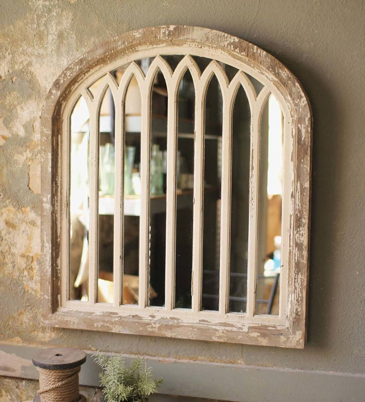 Wood Framed Arched Mirror VivaTerra Antique farmhouse