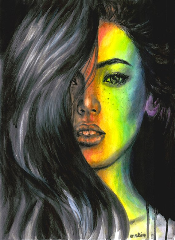 Original Acrylic Painting On Watercolor Paper Unique Artwork Black And White Photo Rainbow Light Watercolor Girl Black And White Painting Acrylic Painting