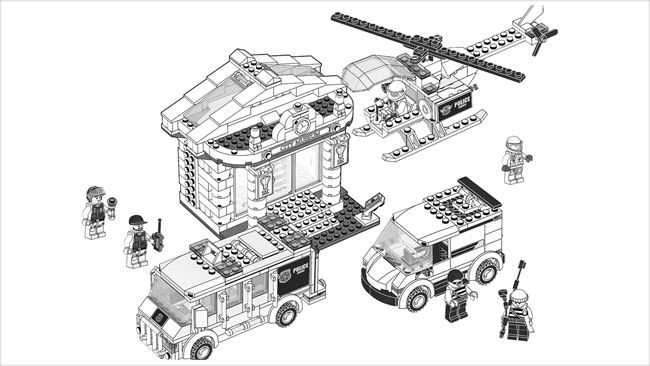 Free Lego Colouring Pages Coloring Therapy LEGO Train Police