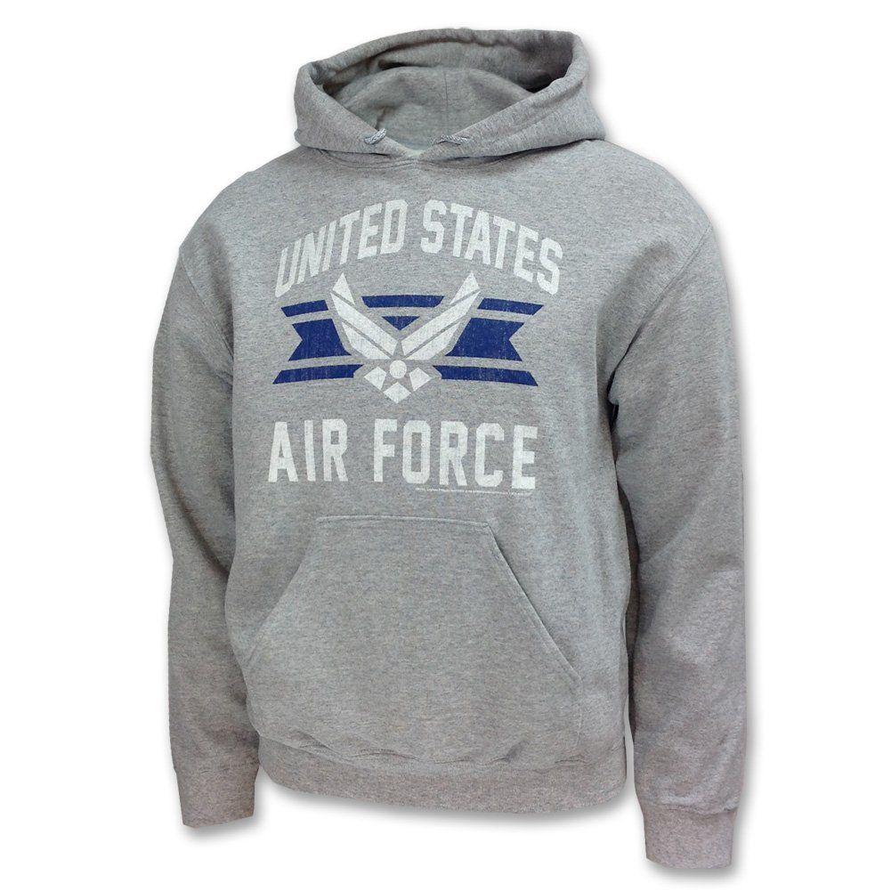 Womens Ladies USAF Slogan Print Top Hooded Sweatshirt Jumper Hoodie NAVY