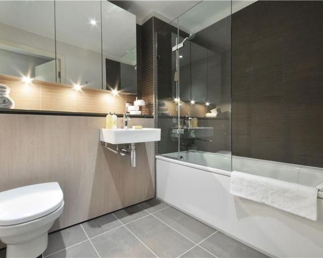 photo of contemporary beige grey white bathroom bathroom