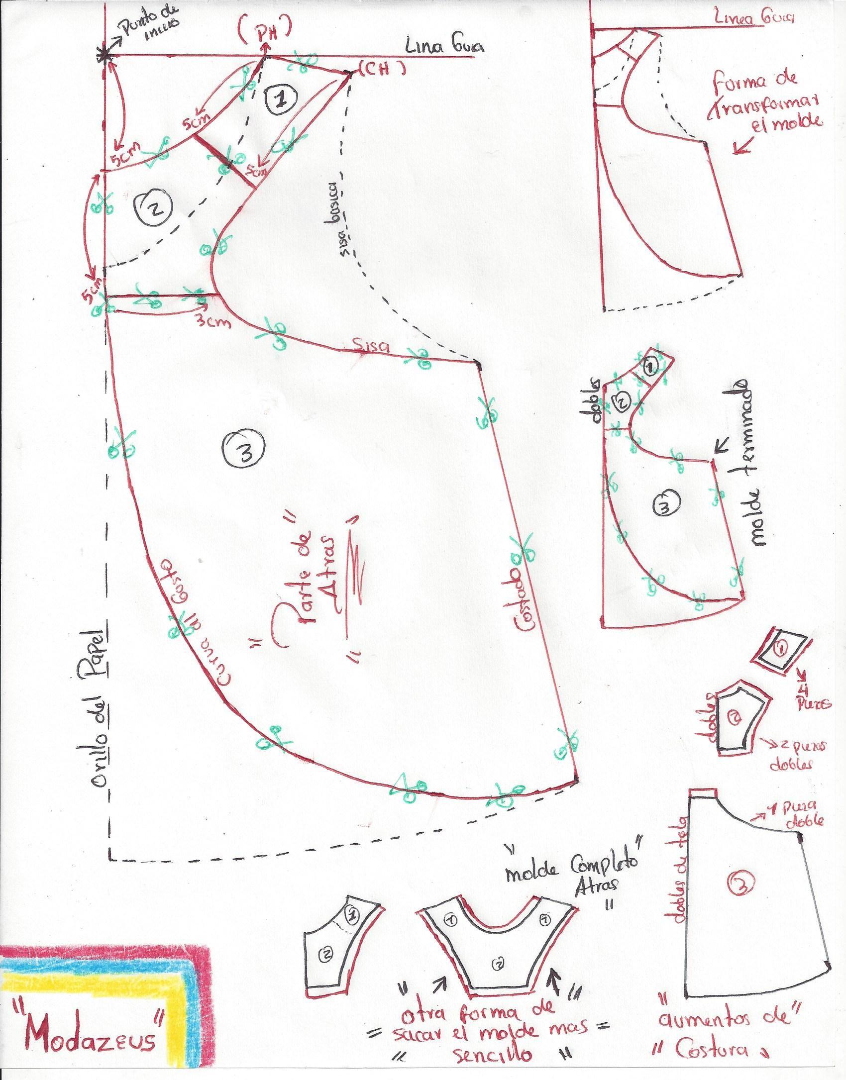 patrón-moldes de blusa amplia-campana para niñas cortada en tela ...
