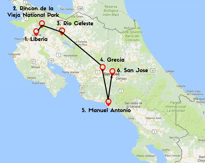 rio celeste costa rica map Sample Itinerary 10 Days In Costa Rica Chasing Waterfalls Costa rio celeste costa rica map