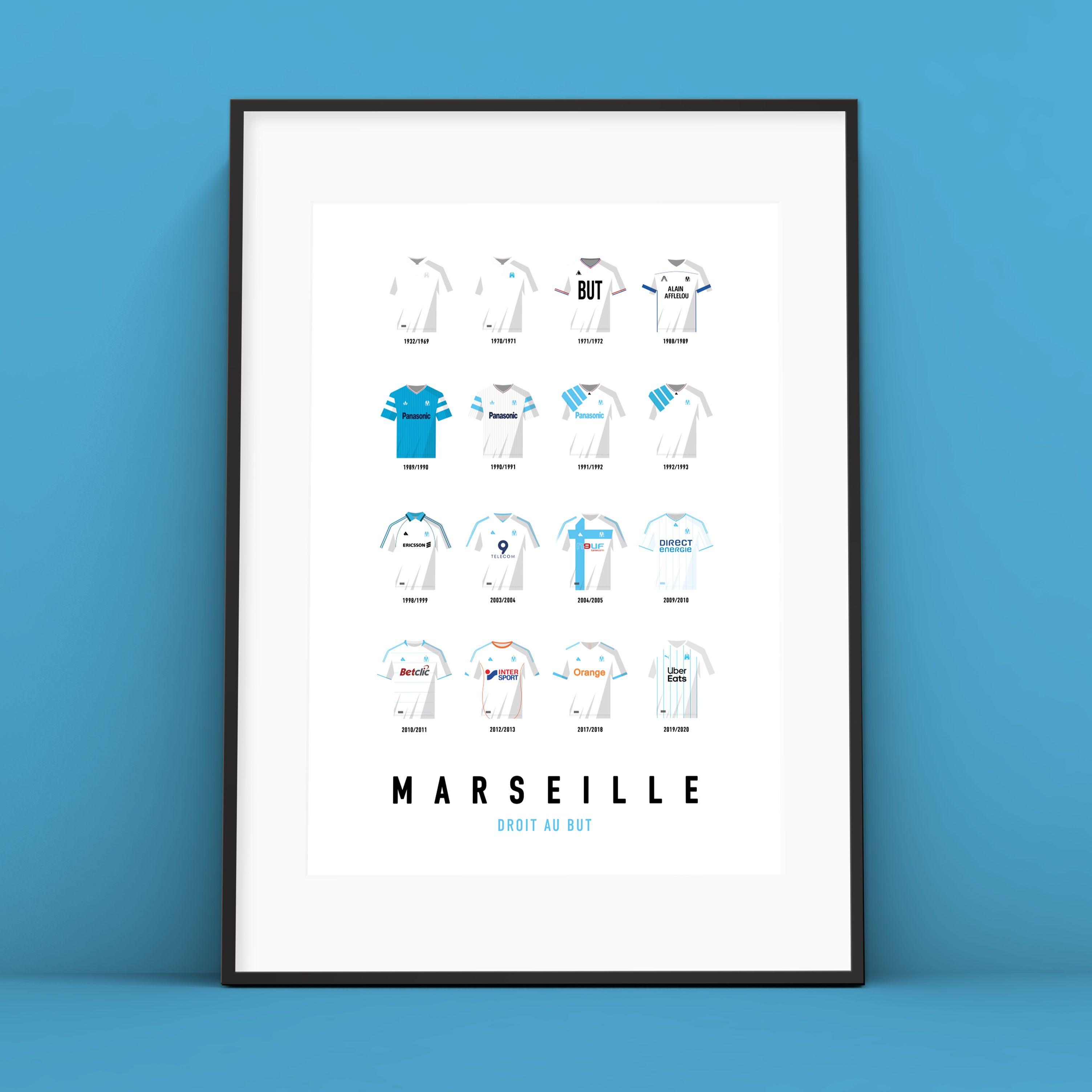 Affiche Om Maillots Historiques Affiche Marseille Historique