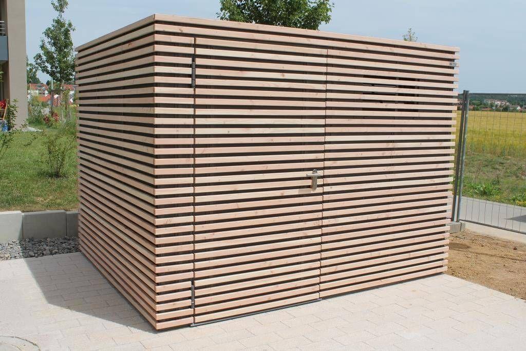 Design gerätehaus stahl mit belattung douglasie moderne