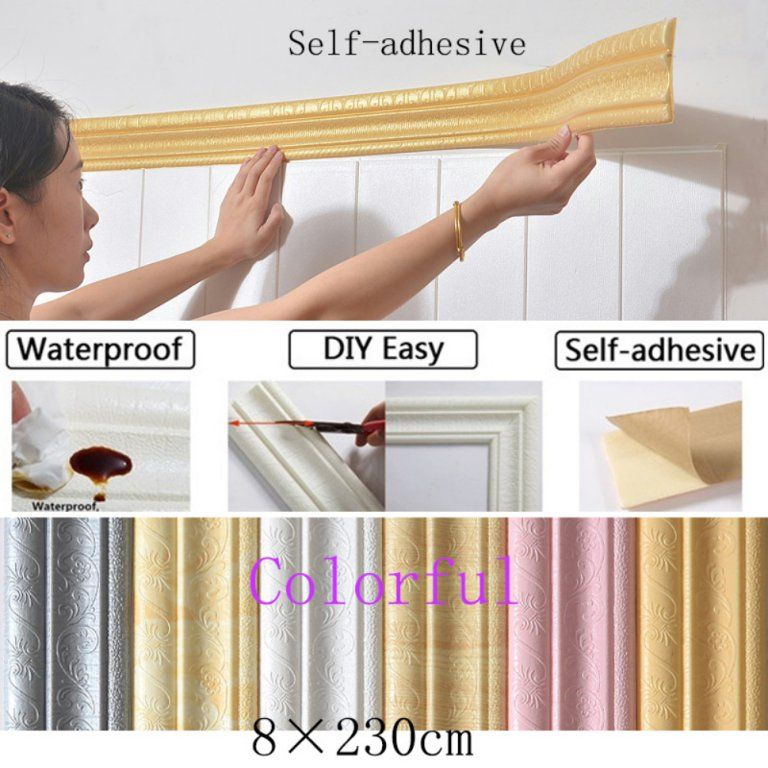 3d Waterproof Wallpaper Border Peel And Stick Wall Border Foam Wall Borders Removable Self Adhesive Tiles Stickers For Kitchen Bathroom Walmart Com In 2021 Wall Decor Stickers Moldings And Trim Flexible Molding