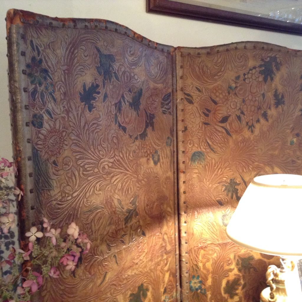 Antique embossed leather panel screen wall decor pinterest