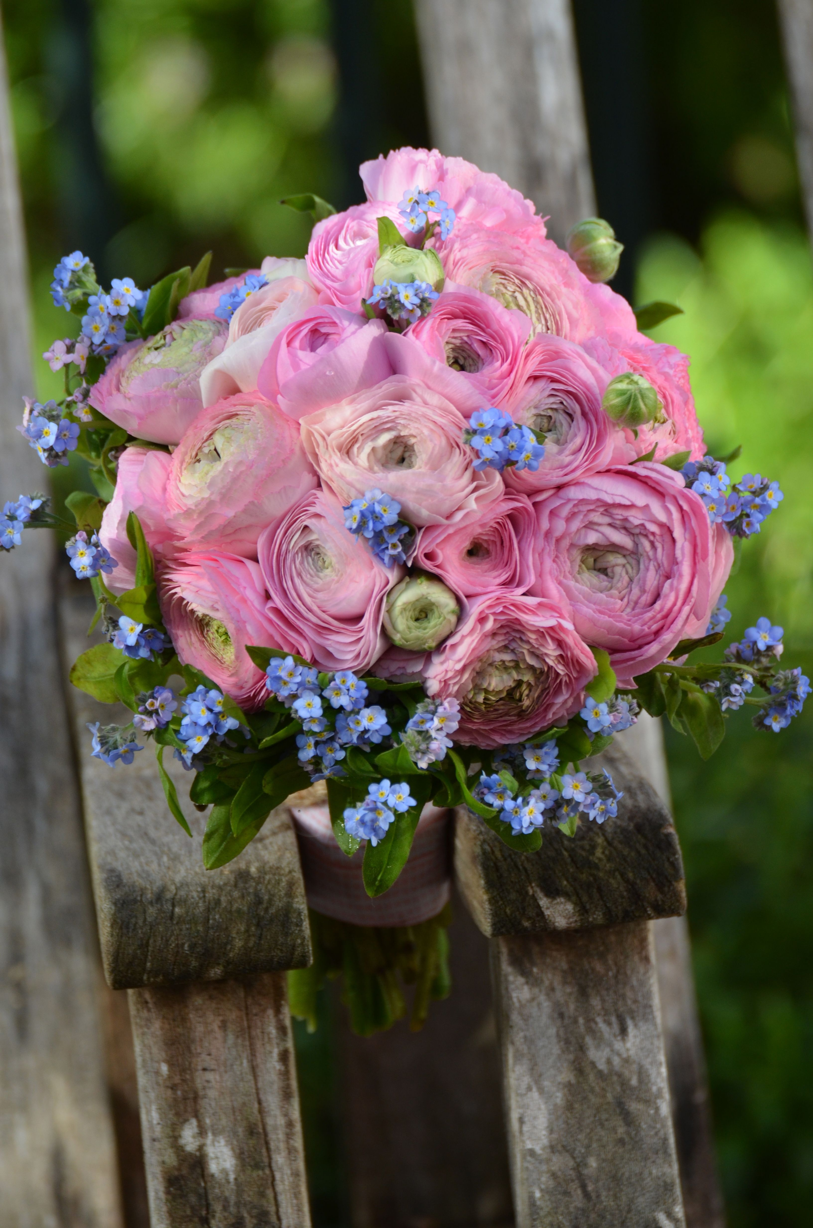 Ranunculus And Forget Me Nots Blue Silk Ribbon And Pearls One Of My