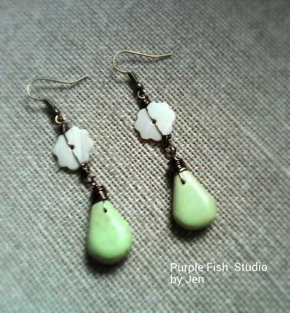 Genuine Turquoise and Mother of Pearl Drop Earrings by UrsyllaBs, $32.00