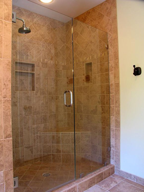 Built in seats shower on pinterest walk in shower teak - Shower stall designs small bathrooms ...