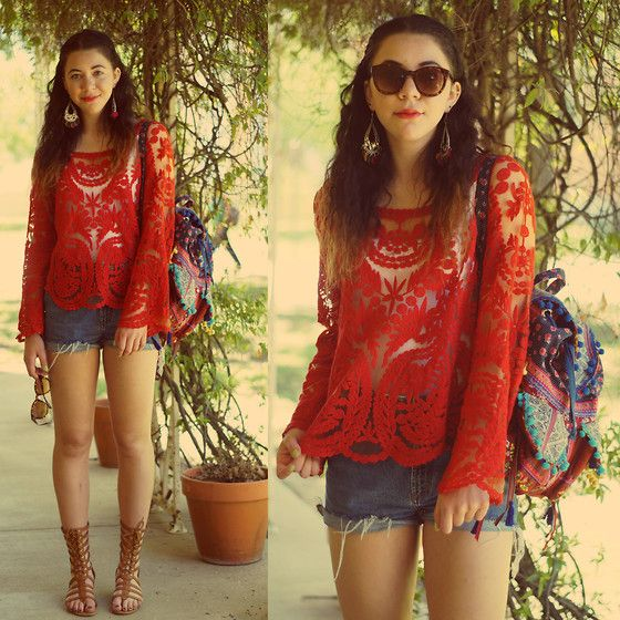Hope Bidinger - Urban Outfitters Backpack, Oasap Crochet Lace Top, Urbanog Sandals - I can feel Draw