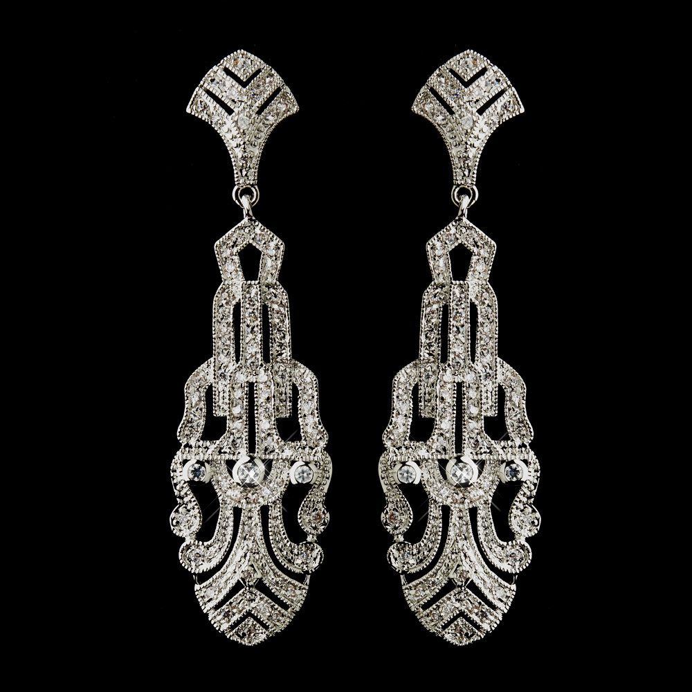 Art Deco Wedding Dangle Earrings Cubic Zirconia Antique