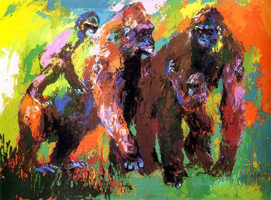 leroy neiman nieman gorilla family safari animals apes