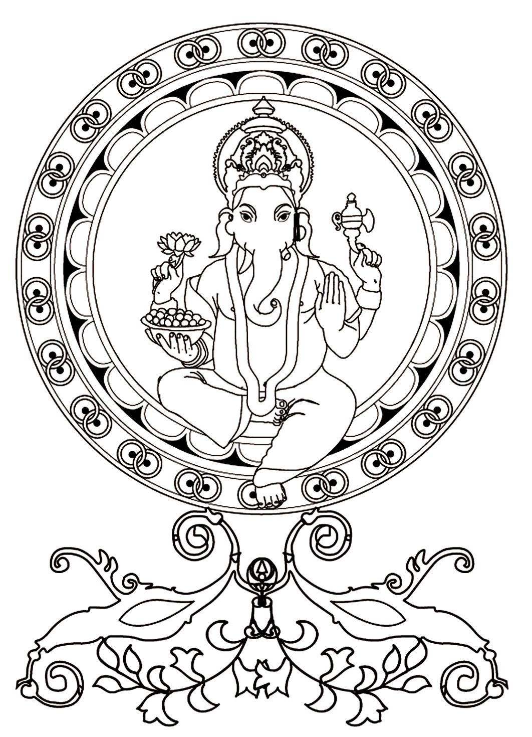 To Print This Free Coloring Page Adult Ganesh Click On