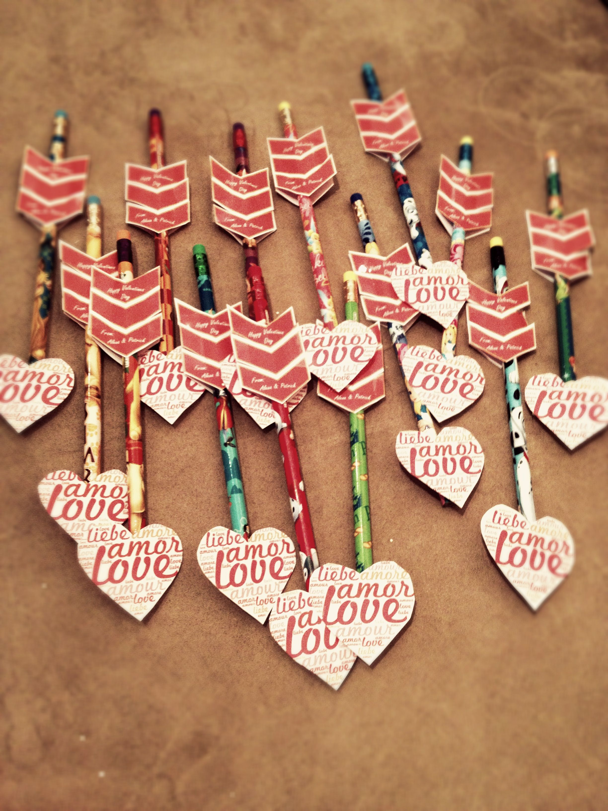 Non Candy Pencil Class Valentines Cupids Arrow