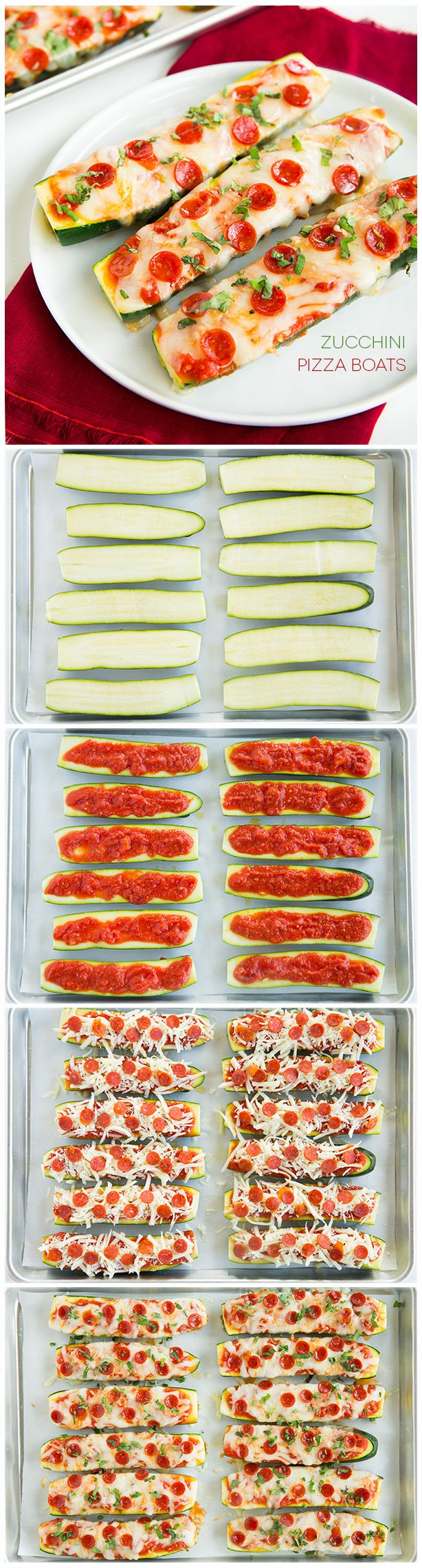 Zucchini Pizza Boats - takes about 10 mins to prep #lowcarb #Italian #zucchini #cheese