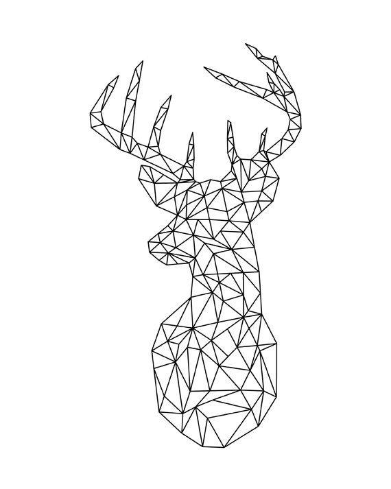 Deer Geometric Print, Origami Modern Home Decor, Black and