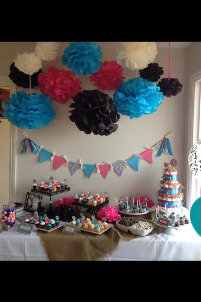Damask Baby Shower By Turquoise Amp Pink Girl Baby Shower