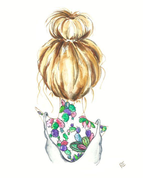 8x10 hair art bun top knot blonde cacti cactus tattoo illustration watercolor hair. Black Bedroom Furniture Sets. Home Design Ideas