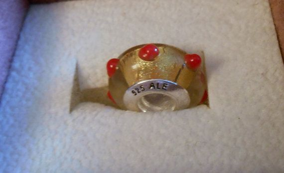 Red Spots Glass Charm Bead 925 Threaded on Etsy, $1.75