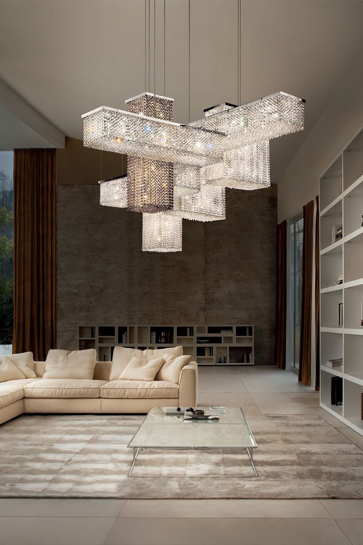 Modern trendy chandelier design, glass chandelier in the shape..