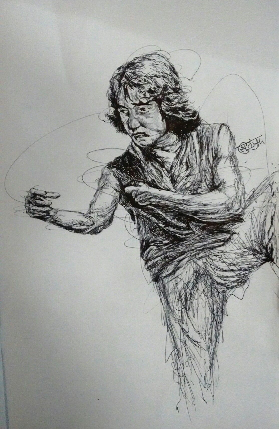 Scribble Drawing Uk : Drunken master scribble drawing of jackie chan by