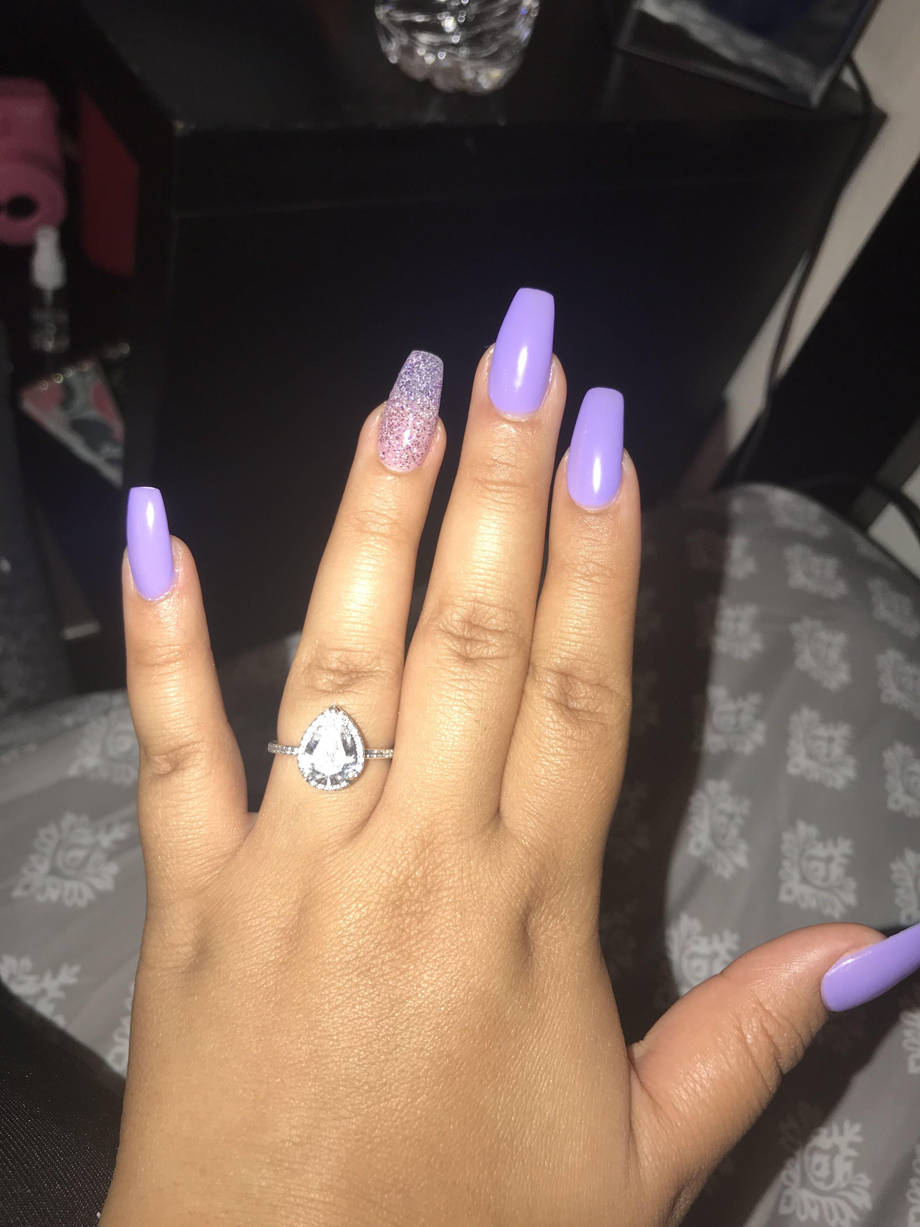 Purple Coffin Pandora Ring Promise Ring Sparkle Accent Medium Length Midnight Lavender Purple Vibes Purple Nails Coffin Shape Nails Lavender Nails