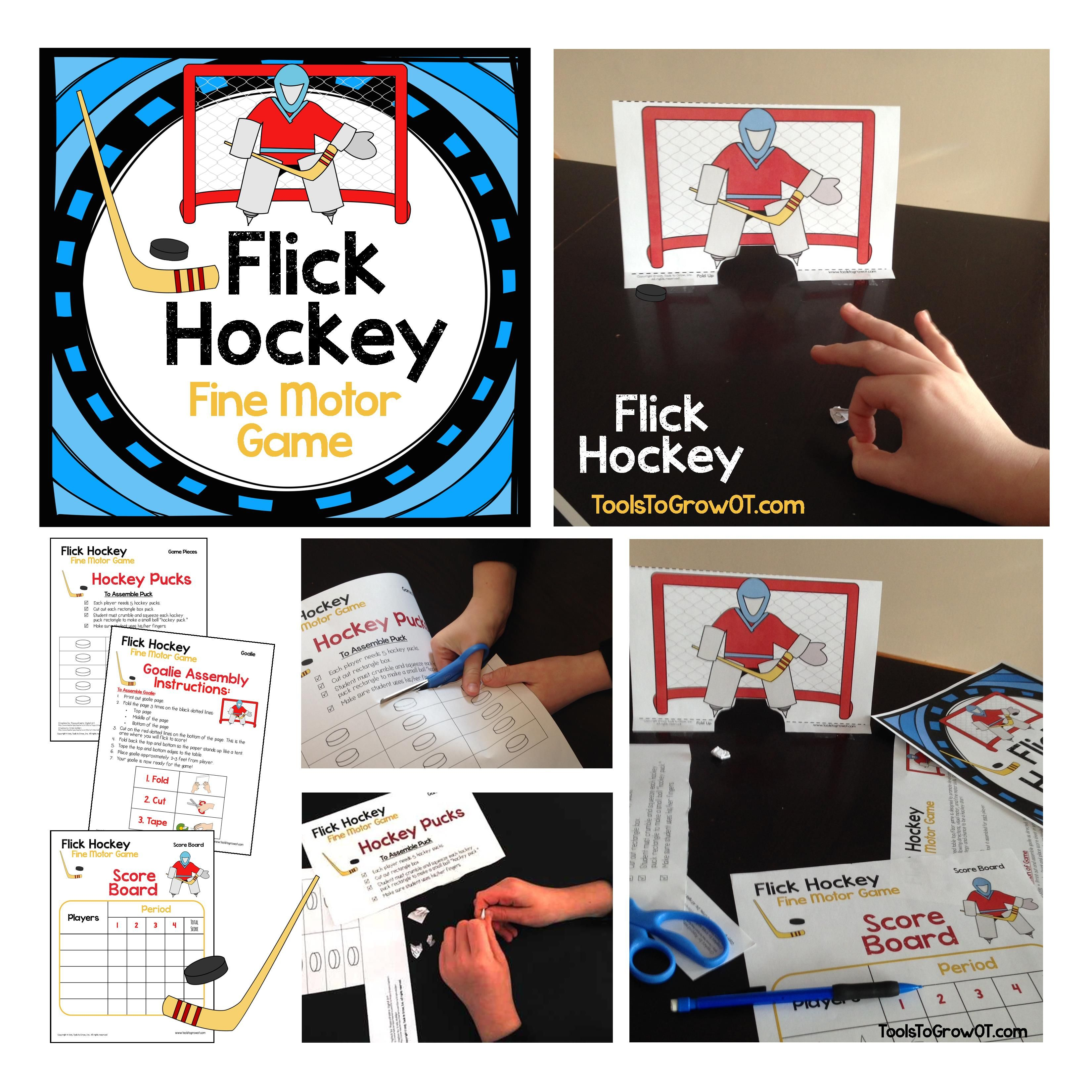 Fine Motor Flick Hockey Game This Hockey Themed Table Top Floor Game Is Designed To Promote
