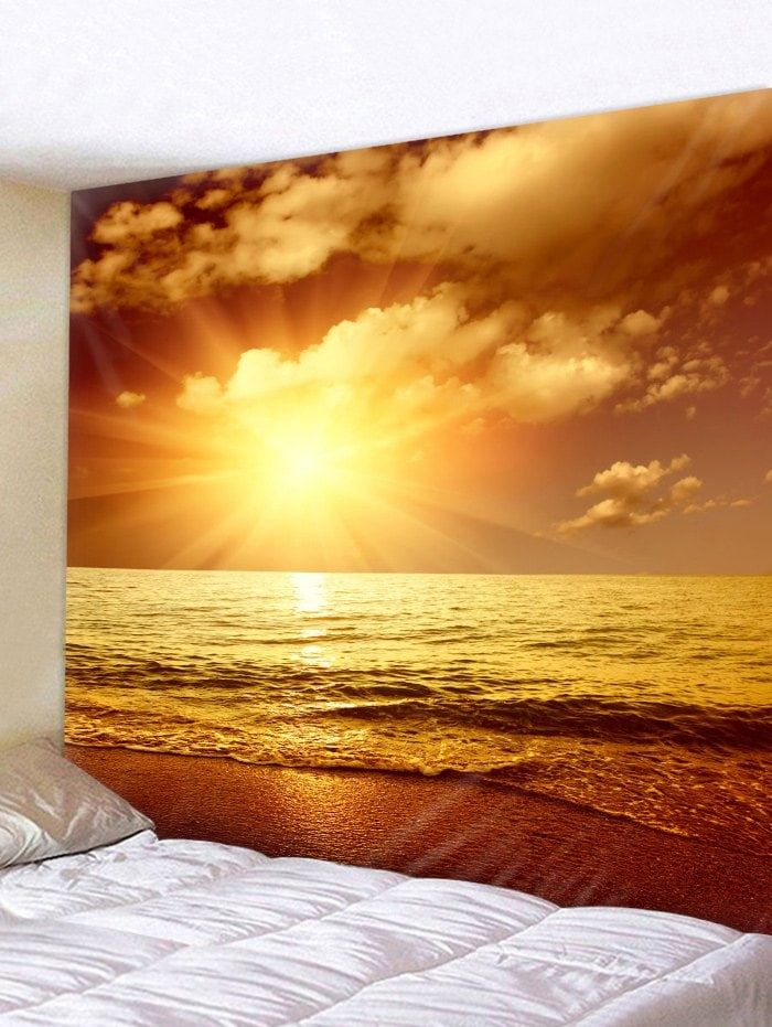 Sunset Sea Beach Printed Tapestry Wall Hanging Decoration | Beach ...