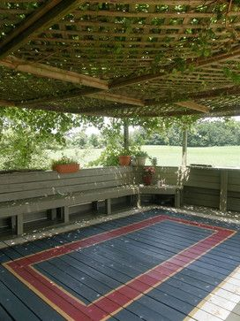Deck Floor Paint Ideas Painted Area Rug On Deck Eclectic Patio