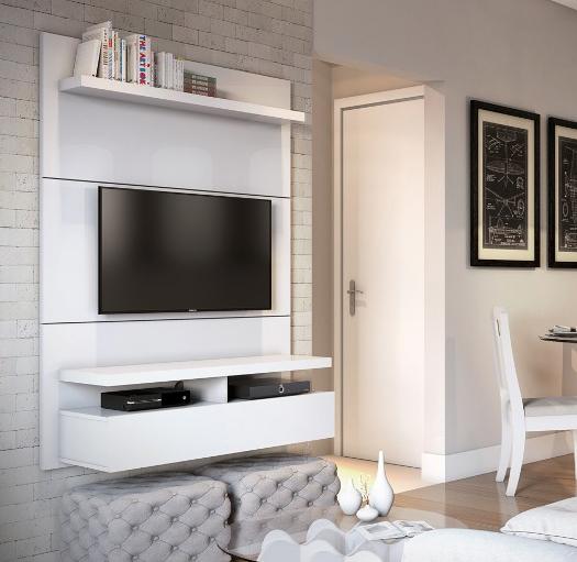 Na hora de decorar a sala busque opções de móveis de acordo com o estilo que você pretende adotar. Se prefere um ambiente mais clean, busque uma decoração minimalista com um certo padrão de cores como o preto, branco, tons de azul e cinza que ficam ótimos tanto nos móveis quanto nas paredes. http://www.toqueacampainha.com.br/painel-ferraz-1-20m-padrao-branco-gloss/p
