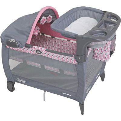 So cute--pink/gray Graco pack n play | Pack n play ...