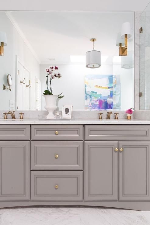 Best White And Gray Bathroom Features A Gray Vanity Painted 400 x 300