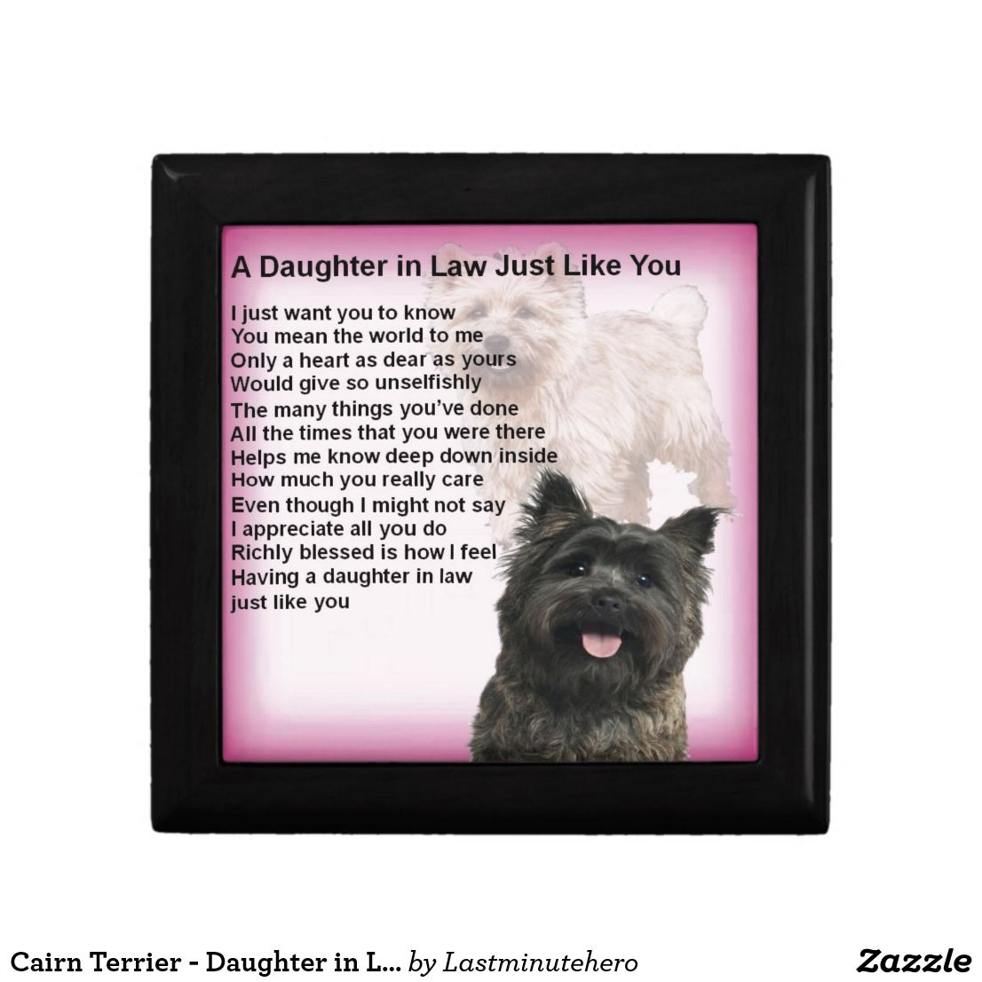 Cairn Terrier Daughter In Law Poem Gift Box Daughter In Law