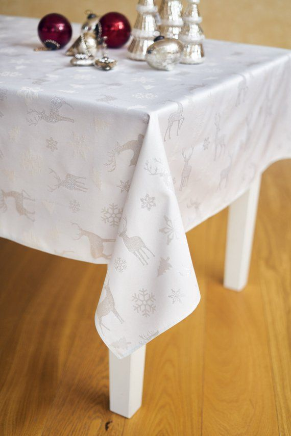 Square Rectangular Silver Shiny Tablecloth Woven Deer