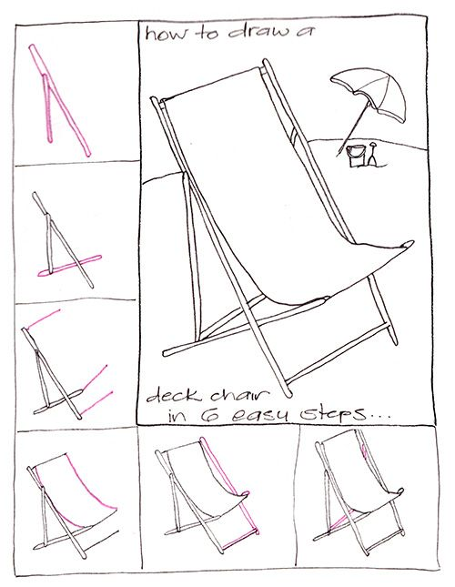 Learn to draw a deck chair step by step | Crafting Goodness