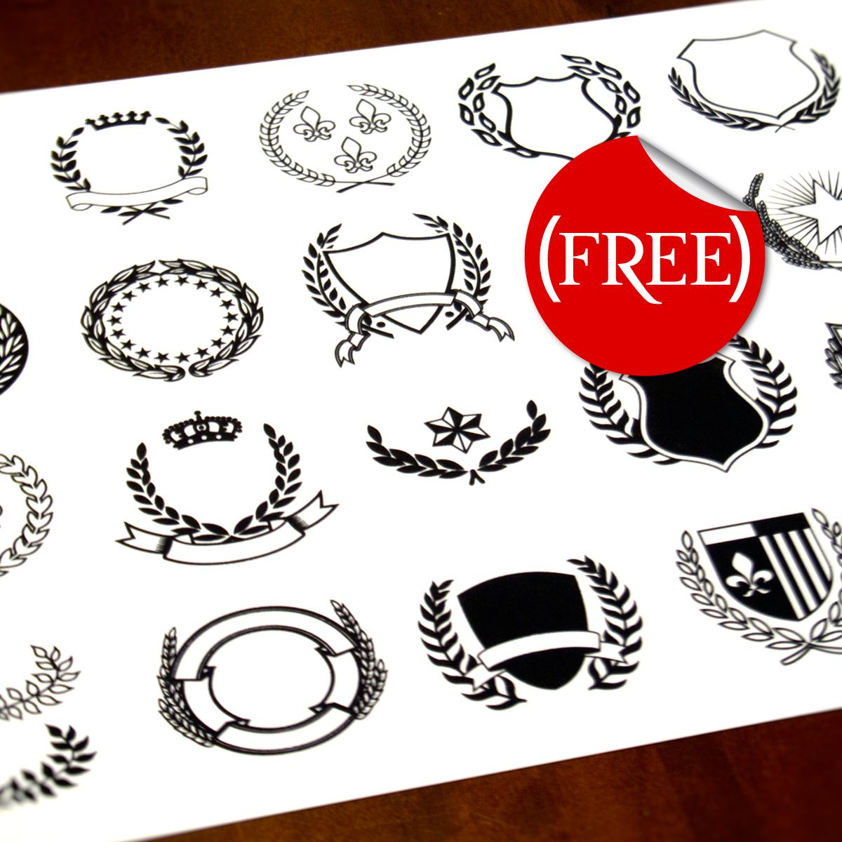 A Set Of 20 Vector Crest Wreath And Banner Icons Available For