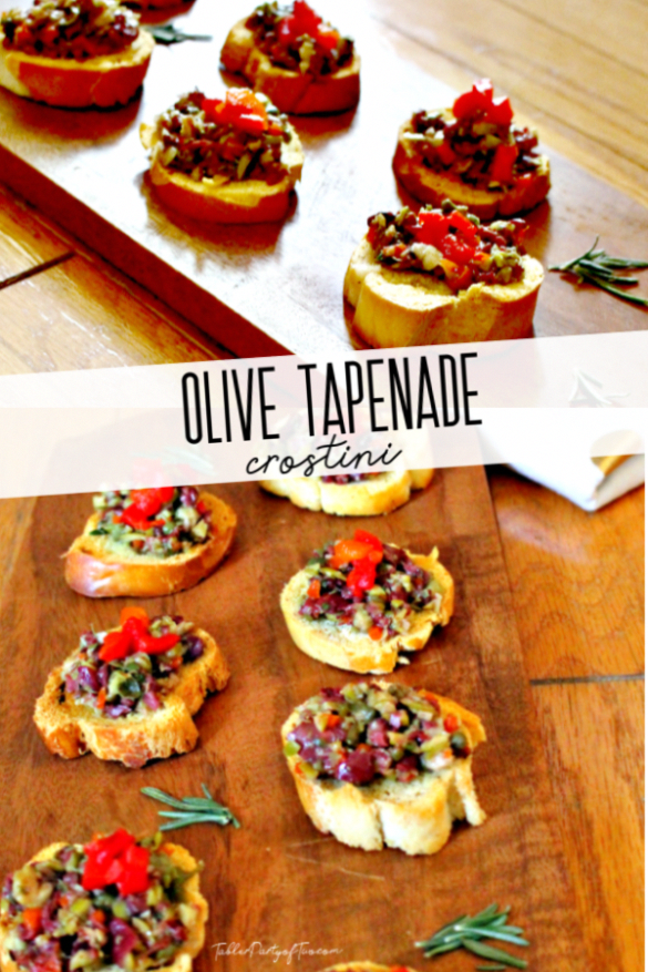 Olive Tapenade Crostini… This olive tapenade is a great appetizer to serve at your next party or just over a glass of wine. The tapenade is a blend of kalamata and green olives, garlic, capers, lemon juice, oil, and roasted red peppers topped on a toasted baguette. It's one of my favorite holiday appetizer recipes! #WineFood #PartyFood #Appetizers #AppetizerRecipe #HolidayRecipe #ChristmasParty #Thanksgiving #greatappetizers